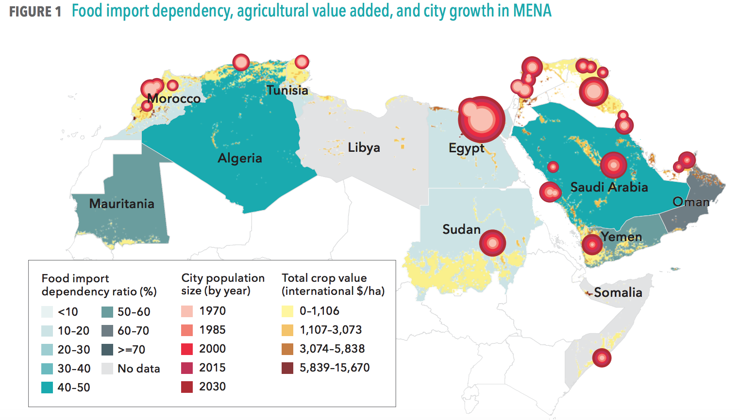 Food import dependency, agricultural value added, and city growth in MENA